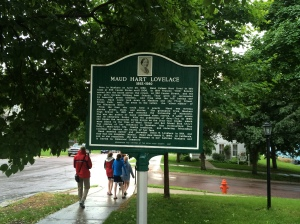 MHL marker, looking down the hill to Tacy's (Bick's) house, Mankato, MN. (Katherine Hart, 2014)