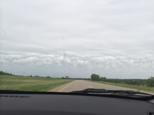 Avoiding storms on Monday's trip back to Minneapolis. Not the greatest shot, but these are some mammatus clouds on the horizon. (Katherine Hart, 2014)